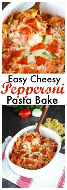 Easy Cheesy Pepperoni Pasta Bake - 5 ingredients, table ready in about 30 minutes. Simple and delish! Pasta Casserole, Pasta Bake, Casserole Recipes, Pasta Recipes, Cooking Recipes, Dinner Recipes, Sweets Recipes, Cooking Tools, Cooking Ideas