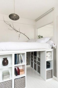 How to DIY a king size loft bed? So I was thinking of getting a king size … Help! How to DIY a king size loft bed? So I was thinking of getting a king size loft bed with space for a desk underneath. However, the biggest IKEA loft bed is only a … Small Room Bedroom, Room Ideas Bedroom, Tiny Bedrooms, Ideas For Small Bedrooms, Decor Room, Very Small Bedroom, Ikea Room Ideas, Bedroom Girls, Ikea Bedroom Design