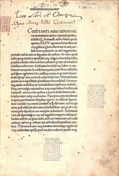 The First Book Printed in Italy By 1465 Sweynheym and Pannartz had arrived at the Benedictine monastery of Subiaco. Some time before the end of September 1465, they printed Cicero's De oratore, the first extant book printed on Italian soil.