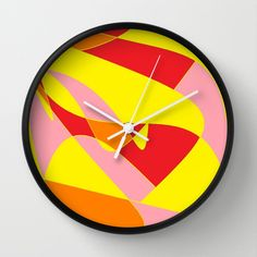 Yellow,+Red,+Orange+and+Pink+Joy+Wall+Clock+by+Celeste+Sheffey+of+Khoncepts+-+$30.00
