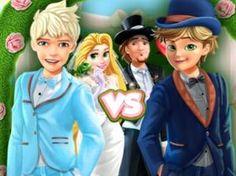 Cat Noir VS Jack Frost Padrinhos de Casamento:  Rapunzel e Flynn Rider irão se casar hoje e pediram  Cat Noir e Jack Frost para ser seus padrinhos de casamento. Vista os padrinhos de casamento e não se esqueça de combinar com seus ternos com os sapatos.