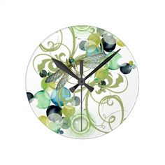 Cute dragonfly with abstract swirls & chic pearls Clock via Zazzle