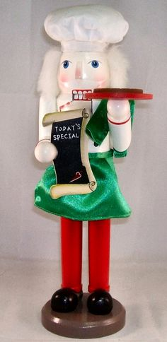 Wooden Italian Pizza Chef Christmas Nutcracker 14 Inches