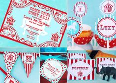 Red White and Turquoise Circus