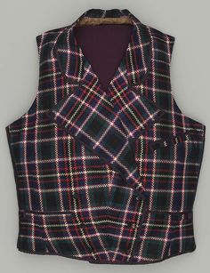 1850s, America - Man's waistcoat - Silk plain weave with warp- and weft-float patterning
