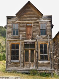 1890s Fraternity Hall, American frontier architecture preserved at Elkhorn State Park, Montana, USA