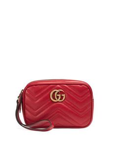 GUCCI Gg Marmont 2.0 Medium Quilted Wristlet, Red. #gucci #bags #shoulder bags #leather #pouch #accessories #