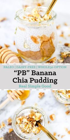 """Paleo and Whole30 make ahead breakfasts, meals, snacks, pretty much everything we possibly can is our jam! This Paleo """"PB&J"""" coconut milk chia pudding is not only super easy to make but also quite delicious! There are also instructions in the recipe to make it Whole30 compliant if that's your thing! #paleo #whole30option #realfood #makeahead #chiapudding 