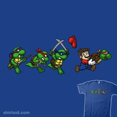 """Turtle Trouble"" by wakho That's not a Koopa Troopa, Mario! Mario encounters the Teenage Mutant Ninja Turtles Ninja Turtles Art, Teenage Mutant Ninja Turtles, Tmnt, Geeks, Tattoo Geek, Super Mario Bros, Cartoon Characters, Cartoon Art, Nerdy"