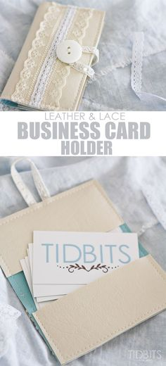 DIY Business card holder, made from leather and lace.