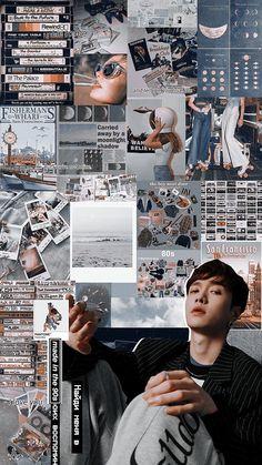 yixing and blue. Kyungsoo, Chanyeol, Yixing Exo, Aesthetic Collage, Blue Aesthetic, Kpop Aesthetic, Exo Ot12, Chanbaek, Aesthetic Backgrounds