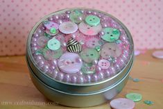 Gift tin by May Flaum using 28 Lilac Lane embellishments. Great for decorative storage too!