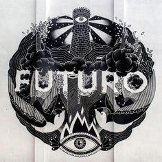 "Brand new work from BoaMistura in Barcelona: ""Futuro"" - For Murs lliures - / Photo by Fernando Alcalá Losa Art Projects For Adults, Easy Art Projects, Illustration Art Drawing, Art Drawings, Graffiti Art, Modern Art Tattoos, Arts Barcelona, Fantasy Art Men, Art Deco Dress"
