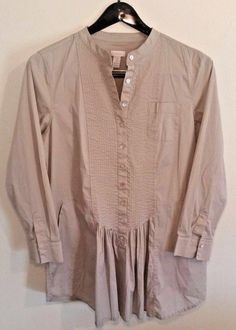 Chicos 2 Button Front Long Sleeve L Long Tan Skirted Pockets 97% Cotton Spandex #Chicos #ButtonDownShirt