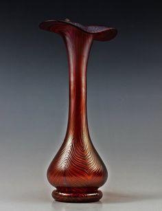 Bohemian Art Deco Glass Glamorous Iridescent Vase