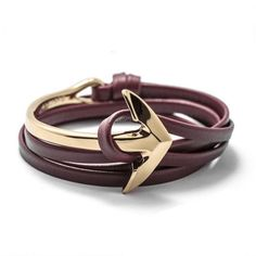 Tom Hope Bracelet Leather Half Bend Anchor Fashion Jewelry 6 Color