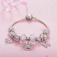 Pink set of bracelets 925 Sterling Silver Platinum Plated beads charms fit pandora Bracelets & Bangles Never change color Pandora Bracelets, Pandora Jewelry, Bangle Bracelets, Bangles, Fitness Bracelet, Color Change, Valentines Day, Charms, Plating