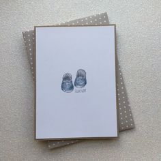 Cute Boy Baby Card - Hand stamped and coloured - with matching handmade envelope