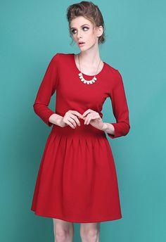 Vestido+volante+cuello+redondo+cremallera+espalda-rojo+EUR€22.68