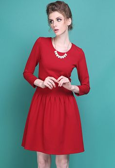 Red Round Neck Back Zipper Ruffle Dress 0.00