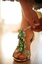 green jeweled sandals