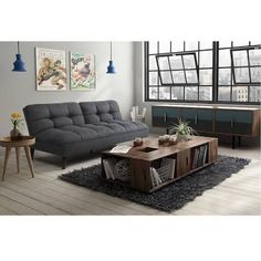 Nando Gray Microfiber Convertible Futon Sofa In 2018 Fun Futons Pinterest And Bed