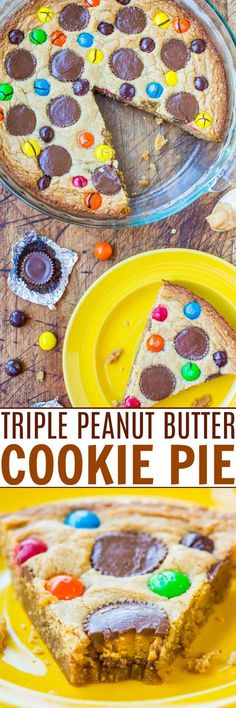 Triple Peanut Butter Cookie Pie — This fast and easy cookie pie has peanut butter worked in THREE different ways. If you're a peanut butter lover, this pie is for you!! Best Peanut Butter, Peanut Butter Recipes, Peanut Butter Cookies, Easy No Bake Desserts, Delicious Desserts, Easter Desserts, Cookie Recipes, Dessert Recipes, Dessert Ideas
