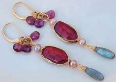 ❥ Labradorite Earrings Blue Flash Labradorite, Red Pearl Pink Rhodolite Garnet Pink Pearl 14k Gold Filled Earrings EXOTIC RED SEA by Moonsnail
