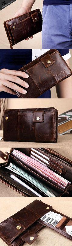 Men Leather clutch Vintage Bifold Black Long wallet men leather zip cl | EverHandmade