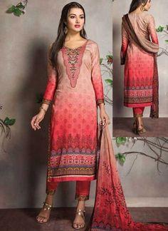Peach Maroon Embroidery Work Cotton Satin Printed Designer Pakistani Suit