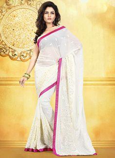 Off White #Embroidered #Chiffon #Saree