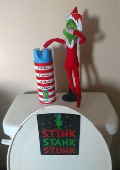 Elf on the Shelf - Grinch Stink Stank Stunk, Diy Abschnitt, Grinch Christmas, Christmas Elf, Christmas Carol, Christmas Brunch, Christmas Decor, Christmas Ideas, Elf On The Shelf, Shelf Elf, Stink Stank Stunk
