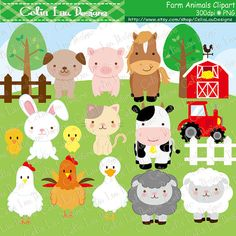 Farm animals Clipart cute farm animals clip art от CeliaLauDesigns