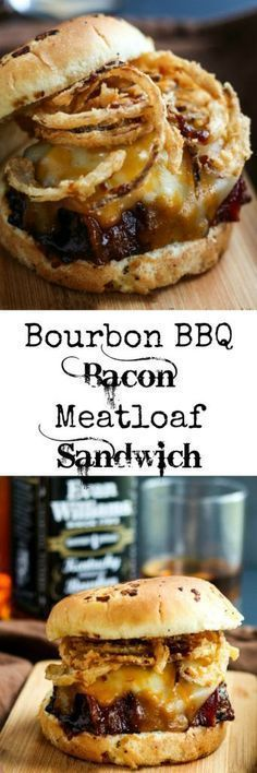 Delicious bacon topped meatloaf grilled in a Bourbon BBQ Sauce and topped off with onion straws makes this Bourbon BBQ Bacon Meatloaf Sandwich a hearty meal! Bourbon BBQ Bacon Meatloaf Sandwich wow say that three times fast. I know the name is long but Roast Beef Sandwich, Meatloaf Sandwich, Pizza Sandwich, Grilled Sandwich, Chicken Sandwich, Burger Recipes, Beef Recipes, Cooking Recipes, Cooking Tips