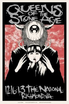 Queens Of The Stone Age concert poster, by Alan Forbes