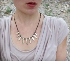 Tribal Biwa Pearl Necklace dainty rustic by ArtifactsEtCetera