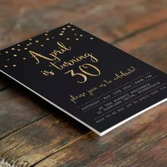 Black and Gold 30th Birthday Invitation A6 by MelonInvitations