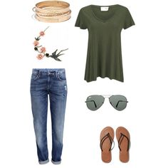 A fashion look from February 2015 featuring American Vintage t-shirts, H&M jeans and Abercrombie & Fitch flip flops. Browse and shop related looks.