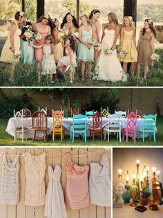 mixmatch bridal party | Mismatched Wedding Programs and Weddings | Wiregrass Weddings