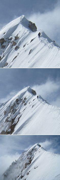 Summit ridge of Aiguille Verte, Mont Blanc, France