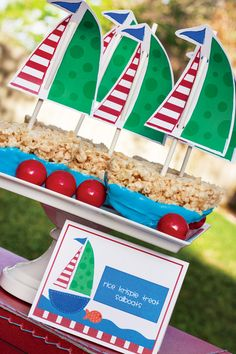 Rice Krispie Treat Sailboats!