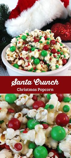 """Santa Crunch Popcorn - a fun Christmas treat. Sweet, salty, crunchy and delicious and it is so easy to make. It would be a great Christmas Party Food or a movie night dessert! Follow us for more fun Christmas Dessert ideas."""