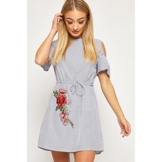 WearAll Striped Floral Embroidered Belt Shirt Dress (260 SEK) ❤ liked on Polyvore featuring dresses, blue, cut out shoulder dress, button down shirt dress, white shirt dress, striped t-shirt dresses and white dresses