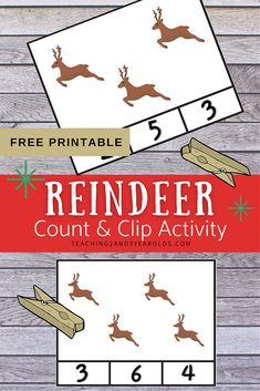 Add some simple counting with this free count and clip printable reindeer activity. A fun way to work on counting skills! #printable #math #counting #Christmas #reindeer #preschool #activity #3yearolds #teaching2and3yearolds Fun Math, Toddler Preschool, Preschool Activities, 3 Year Olds, Christmas Math, Counting Activities, Card Patterns, Printable Cards, Reindeer
