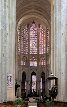 Stunning medieval stained glass windows in Tours Gothic Cathedral of St. Gatien, Indre-et-Loire, Centre, France // Flickr