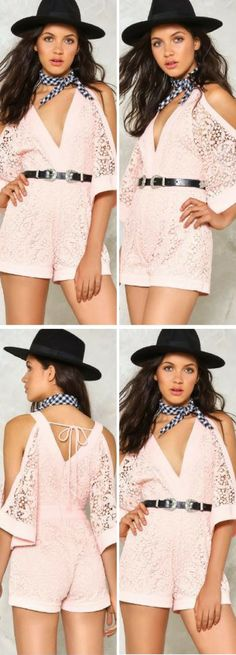 Bare (almost) all. The Bare Bones Romper features a plunging V-neckline, cold shoulder silhouette, zip and tie closures at back, and crochet detailing throughout. Partially lined. Wear it with a Western belt and a bandana tied around the neck.