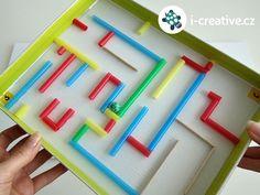 maze of shoe box lid - Kinderspiele Crafts For Boys, Toys For Boys, Diy For Kids, Diy And Crafts, Cardboard Crafts, Paper Crafts, Games 4 Kids, Shoe Box Lids, Monkey Crafts