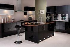 nice Idée relooking cuisine - cuisine contemporaine avec îlot et plans aspect bois...