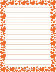 Printable orange heart stationery and writing paper. Multiple versions available with or without lines. Free PDF downloads at http://stationerytree.com/download/orange-heart-stationery/