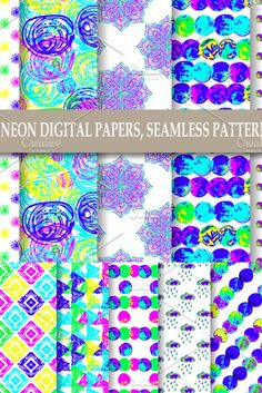 10 Neon seamless patterns, digital papers - with dots, mandala, rain, abstract shapes The digital papers are perfect for holiday, Christmas, winter themes, planners, digital background,, fabric printing, scrapbooking, small business branding, web design, invitations, cards, gift wrapping